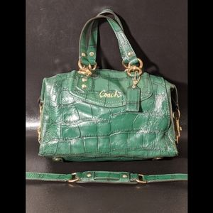 COACH GREEN ASHLEY 'CROC EMBOSSED' LEATHER BAG